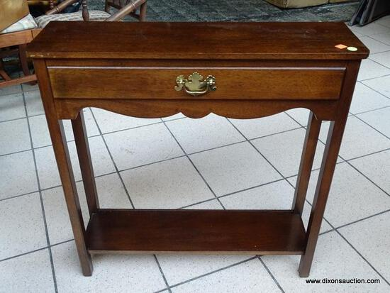 (R1) MAHOGANY 1 DRAWER CONSOLE TABLE WITH BRASS CHIPPENDALE STYLE PULL. MEASURES 28 IN X 8 IN X 28