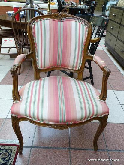 (R1) ESTATE OWNED PECAN WOOD FINISH ARM CHAIR WITH STRIPE UPHOLSTERED BACK, ARMS, AND SEAT. IS 1 OF