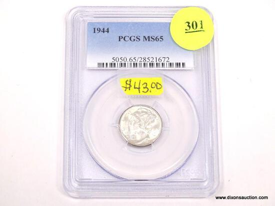 1944 MERCURY DIME - MS 65 - GRADED BY PCGS #5050.65/28521672.