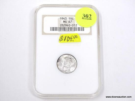 1943 MERCURY DIME - MS 67 - GRADED BY NGC #282940-012.