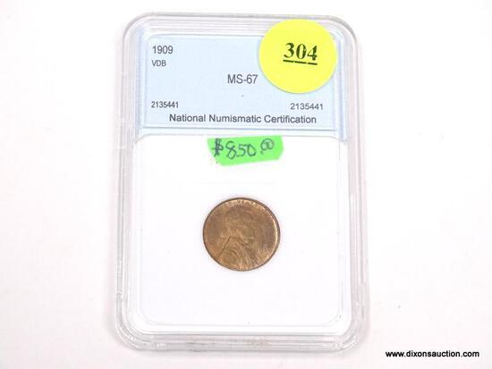 1909 VDB LINCOLN WHEAT PENNY - MS 67 - GRADED BY NNC #2135441.