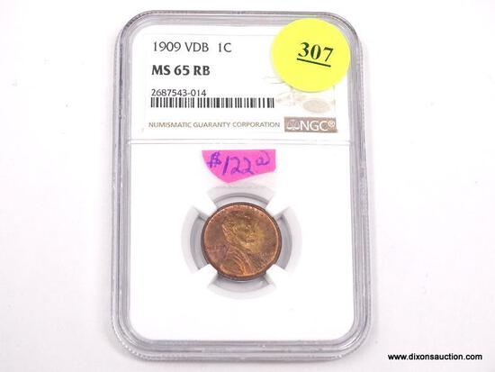 1909 VDB LINCOLN WHEAT PENNY - MS 65 RB - GRADED BY NGC #2687543-014.