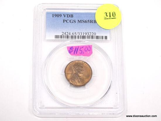 1909 VDB LINCOLN WHEAT PENNY - MS 65 RB - GRADED BY PCGS #2424.65/33193220.