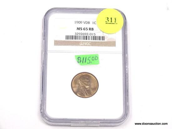 1909 VDB LINCOLN WHEAT PENNY - MS 65 RB - GRADED BY NGC #3292692-015.