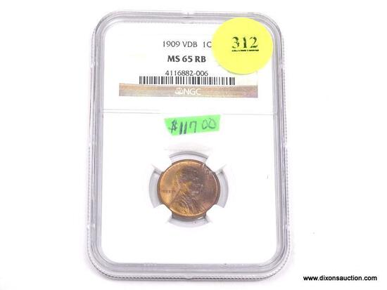 1909 VDB LINCOLN WHEAT PENNY - MS 65 RB - GRADED BY NGC #4116882-006.