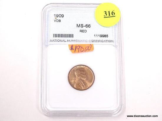 1909 VDB LINCOLN WHEAT PENNY - MS 66 RED - GRADED BY NNC #1119985.