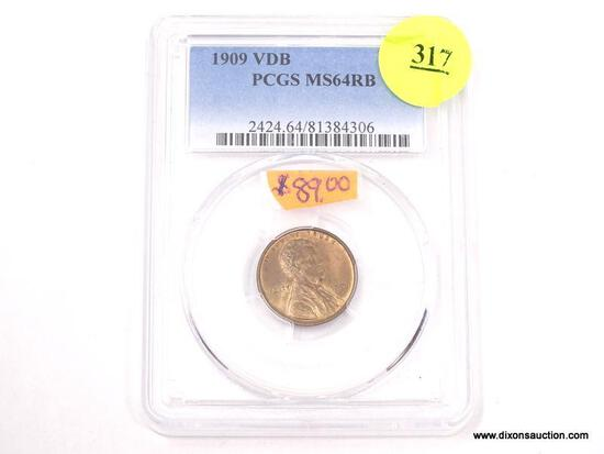 1909 VDB LINCOLN WHEAT PENNY - MS 64 RB - GRADED BY PCGS #2424.64/81384306.