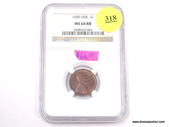 1909 VDB LINCOLN WHEAT PENNY - MS 64 RB - GRADED BY NGC #2598763-003.