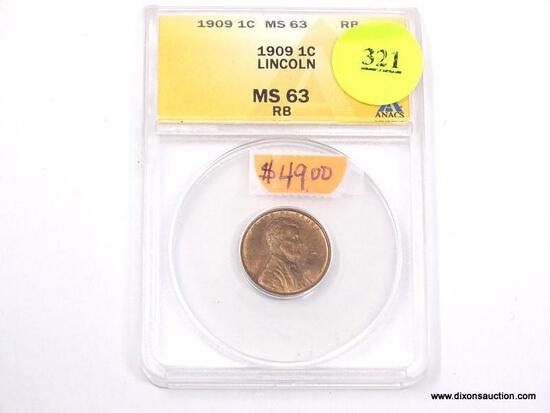 1909 LINCOLN WHEAT PENNY - MS 63 RB - GRADED BY ANACS #4729732.
