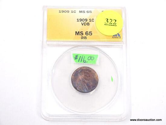 1909 VDB LINCOLN WHEAT PENNY - MS 65 RB - GRADED BY ANACS #4767487.