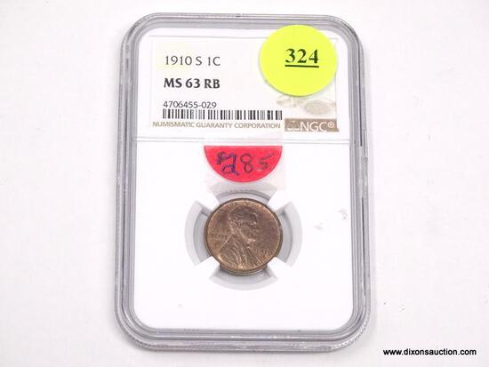 1910-S LINCOLN WHEAT PENNY - MS 63 RB - GRADED BY NGC #4706455-029.