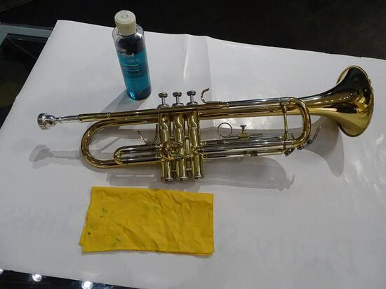 (SC) A. EASTMAN TRUMPET WITH CLEANING CLOTH AND LIQUID, AND A HARD CASE. HAS MOUTHPIECE. ITEM IS
