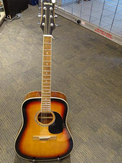 (SC) MITCHELL ACOUSTIC GUITAR. MODEL D120SB. HAS A TOBACCO BURST FINISH. ITEM IS SOLD AS IS WHERE IS