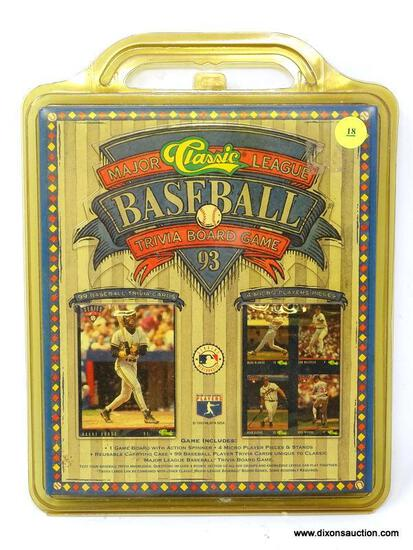 CLASSIC MAJOR LEAGUE BASEBALL TRIVIA BOARD GAME FROM 1993. IS IN PACKAGING. ITEM IS SOLD AS IS WHERE