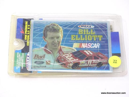 ONE PREMIER EDITION COLLECTIBLE 3.5 IN X 5 IN CHROME CARD OF BILL ELLIOTT. INCLUDES A MAXX RACE CAR