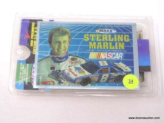 ONE PREMIER EDITION COLLECTIBLE 3.5 IN X 5 IN CHROME CARD OF STERLING MARLIN. INCLUDES A MAXX RACE