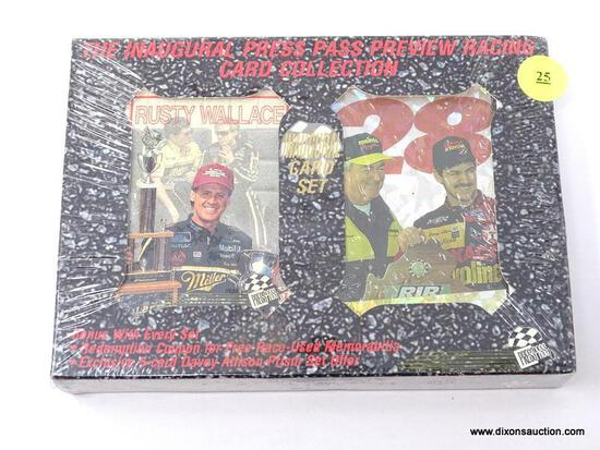 THE INAUGURAL PRESS PASS PREVIEW RACING CARD COLLECTION. IS STILL WRAPPED IN PLASTIC. ITEM IS SOLD