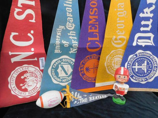 Group of 5 Vintage Southern School Pennants and Bobble Head