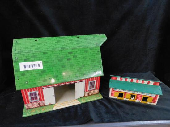Marx Tin Litho Barn and Chicken Coop