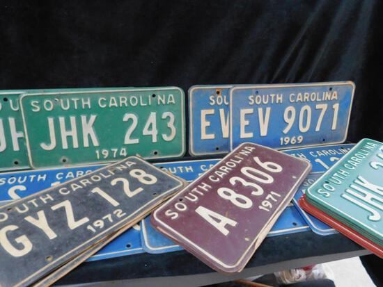 30 Vintage Mostley South Carolina License Plates