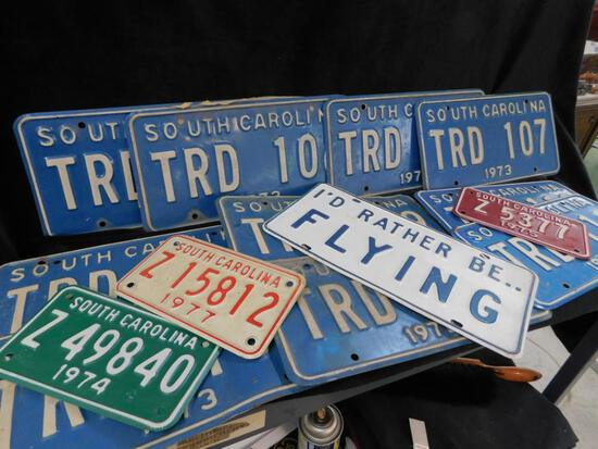 3 Vintage Motorcycle and 11 Vintage South Carolina License Plates