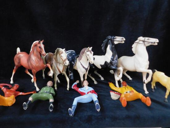 Group of plastic Toy Horses and Cowbys and Indians