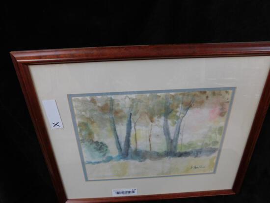 Watercolor Tree Scene