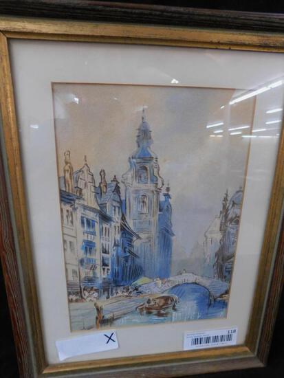 Watercolor European Street Scene