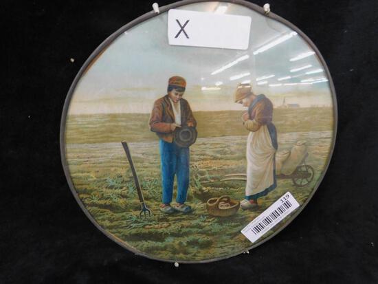 Vintage Farming Print in Round Frame