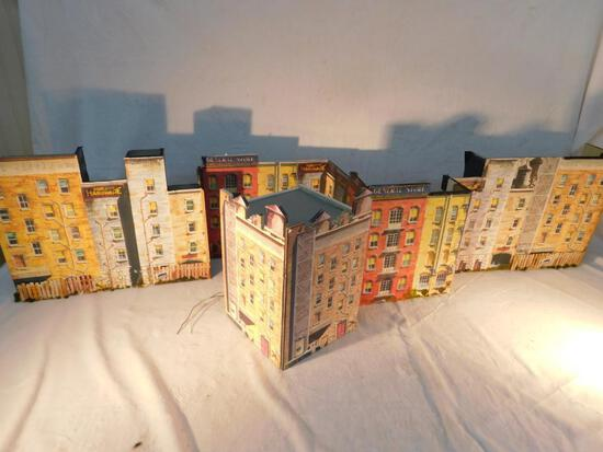 "Flats of City Scapes 5 Large Buildings ""O"" Gauge Used"