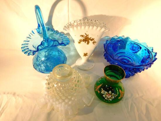 Grouping of 4 Fenton Glass Pieces and 1 Bohemian Glass