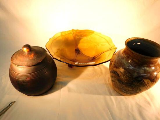 Group of 2 Pottery Pieces and Footed Bowl