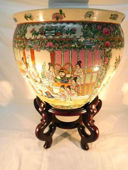 Vintage Chinese Fish Bowl with Stand