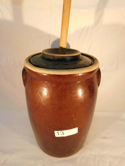 Vintage Pottery Butter Churn with Lid and Paddle