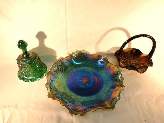 Grouping of 3 Fenton Carnival Glass Pieces