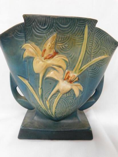 Roseville Double Handled Lily Fan Vase