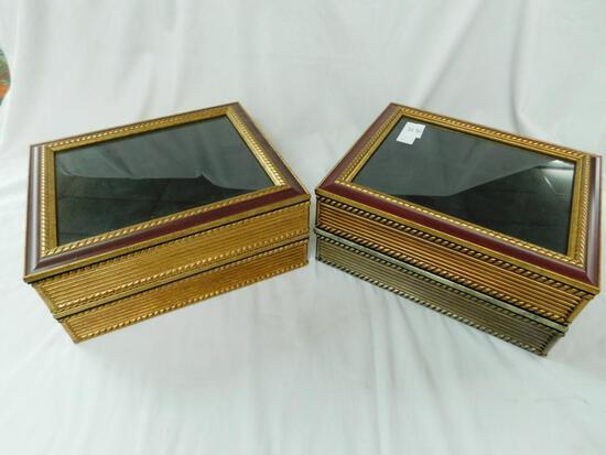 Glass Lid Velvet Lined Divided Boxes