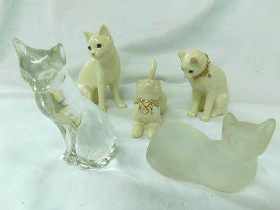 Grouping of 5 Lenox Porcelain and Glass Cats