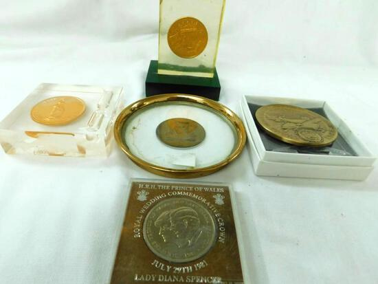 Grouping of 5 Medal Medallions - Some in Lucite