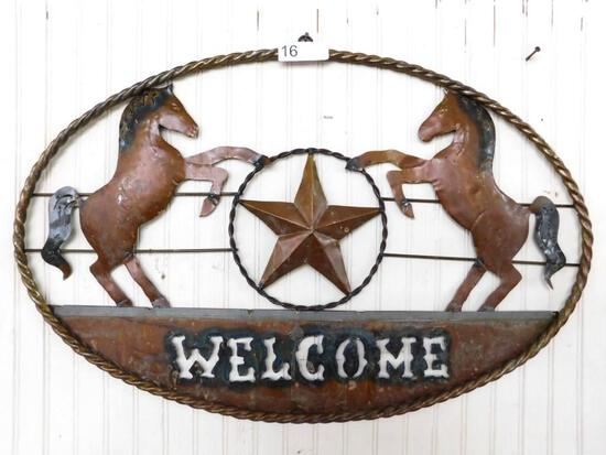 """Metal Wall Art """"Welcome"""" with Horses"""