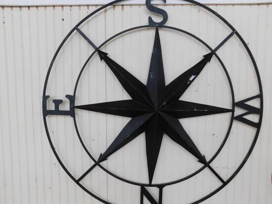 Large Painted Black Compass Metal Wall Art