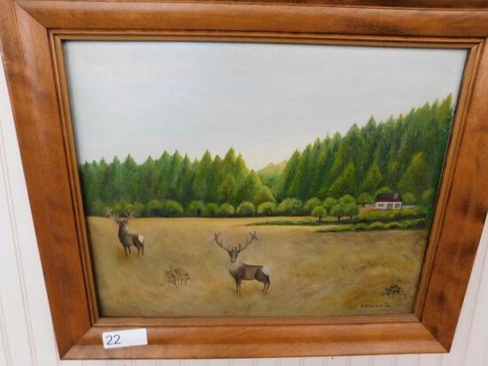 N. Ainsworth Oil on Board Deer Scene