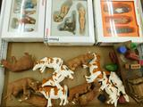 3 Boxes of Preiser Model Train Set Up Figures - Bullyland and Ertl Cows - Wagon