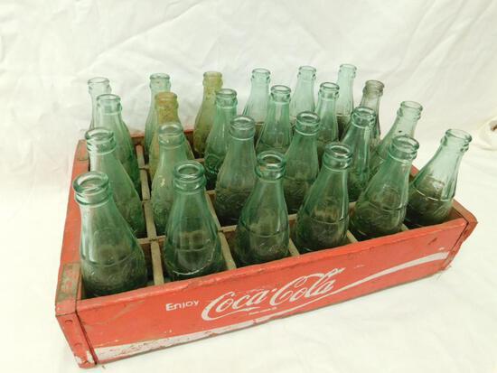 Vintage wood Coca Cola Crate with 24 Vintage Bottles