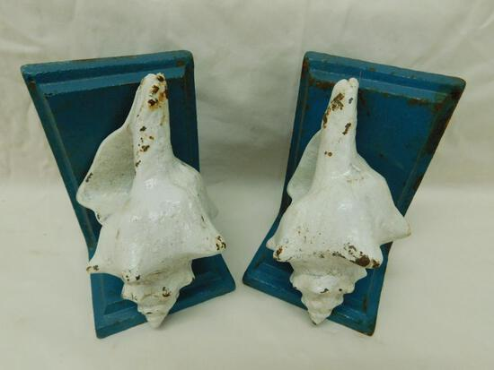 Cast Iron Sea Shell Bookends