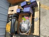 3 Jump Starters, 3 Car Jacks, Forklift Seat,  Box of Misc.