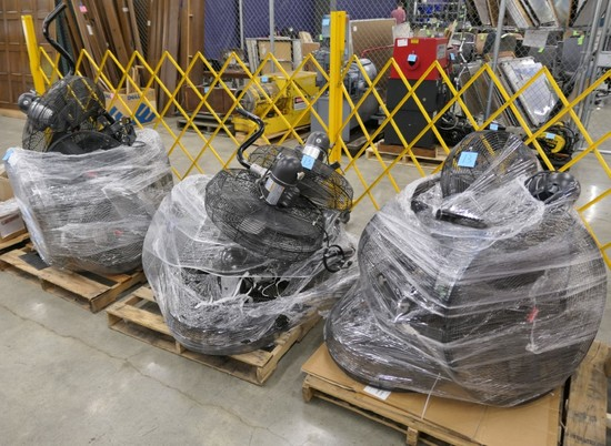 Misc. Wall Mount Fans: Dayton and Others, Items on 3 Pallets.