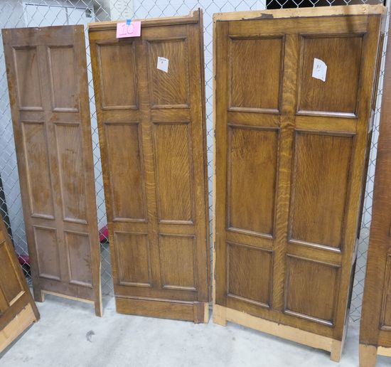 LOT 10: Antique Oak Wall Paneling: 3 pieces (2 flat, 1 w/ corner).