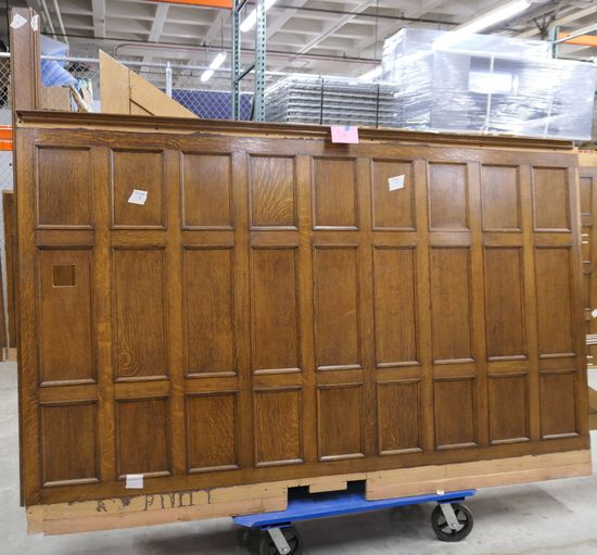 LOT 16: Large Antique Oak Wall Paneling: 1 piece.