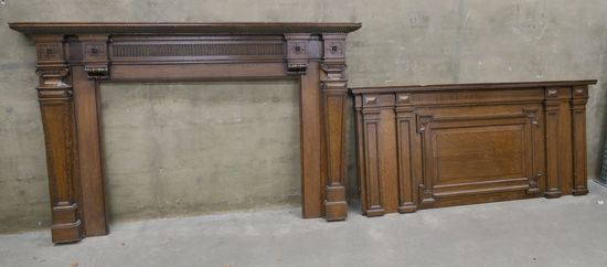 LOT 2: Oak Mantelpiece in 2 Sections: Upper & Lower.